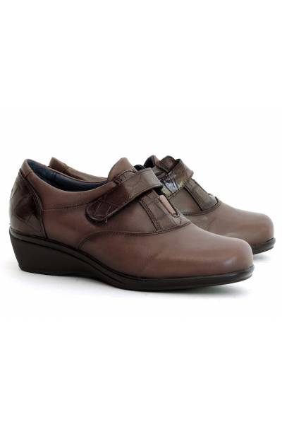 Zapato Piel Con Velcro 3208