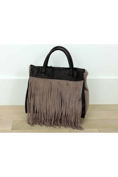 Bolso Shopping De Piel Con Flecos 4189