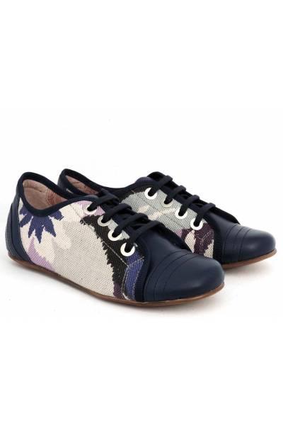 Zapato Piel Y Tejido 4561