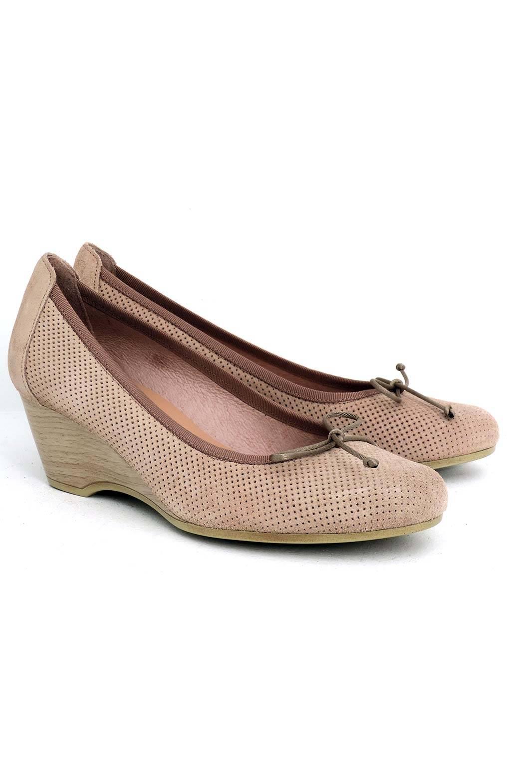 Zapato piel cuña madera