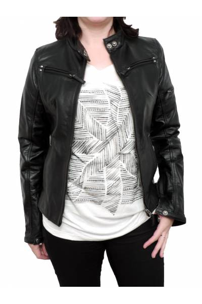 Leather jacket for moto MDP 1604 BLACK