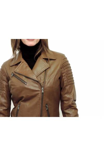 Cazadora cuero motera MDP AYESHA LIGHT BROWN