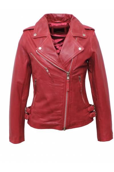 cazadora de cuero estilo perfecto tonny red