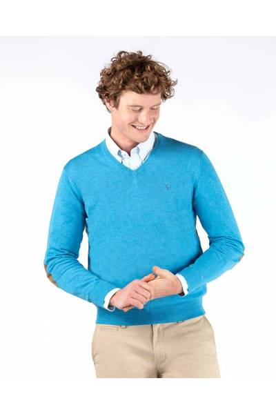 El Ganso jersey organic v neck jumper elbow pads turquoise 200008