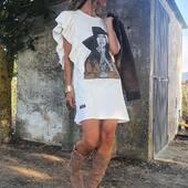 "Vestido sin mangas con volantes "" Pepa Flores""  #envíosonline #WhatsAppMedinapiel682157789 📞947190770   TALLA ANCHO (sisa a sisa) LARGO XS-S 51cm 83cm M-L 53cm 85cm XL 55cm 89cm"
